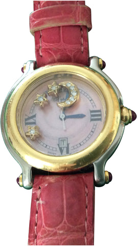 "Ladies 18K Gold and Steel ""Happy Sport"" Quartz Wristwatch"