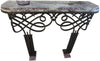 Art Deco Patinated Wrought-Iron Marble Topped Console Table