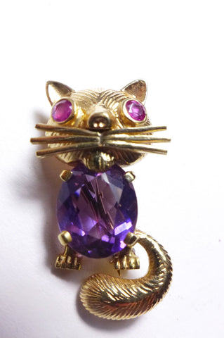 14K Yellow Gold, Amethyst and Ruby Cat Brooch, after the design by Van Cleef & Arpels, ca. 1960s