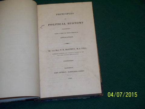 """Principles of Political Economy..."" Thomas Robert Malthus, 1820, London, First Edition"