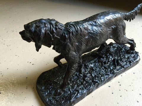 After Pierre-Jules Mene (French, 1810-1879), Retriever, patinated bronze animalier sculpture, signed in the cast