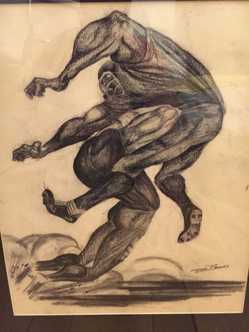 Ernie Eugene Barnes, Jr. (American, 1938-2009), Three Drawings of Football Players, charcoal on paper, each signed and dedicated