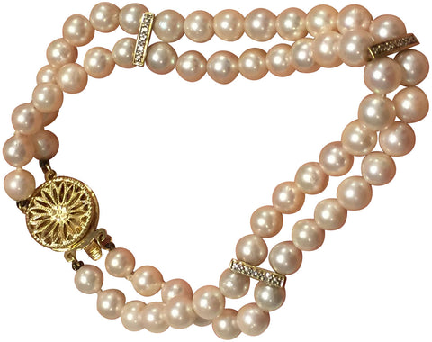 14K Yellow Gold, Double Row Cultured Akoya Pearl Bracelet
