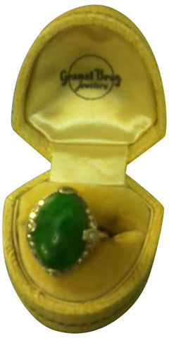 Platinum, Burmese Jadeite and Diamond Ring