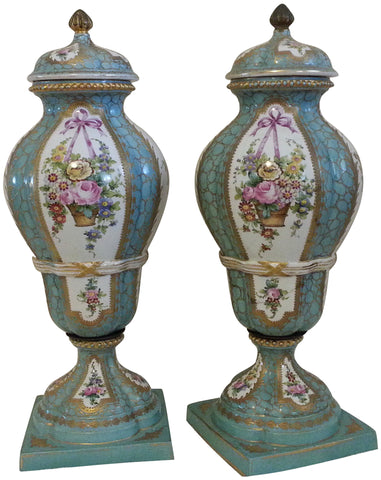 Pair of French Sevres Style Porcelain Lidded Bolted Vases