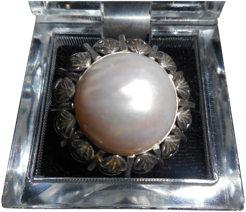 14K White Gold & Mabé Pearl Ring