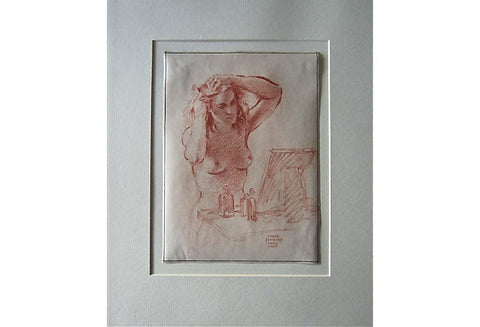 Sergei Petrovich Ivanoff (Russian, 1893-1983), Woman at her Dressing Table, 1945, crayon on paper, signed