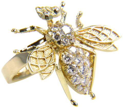 18K Yellow Gold and Diamond Bee Ring