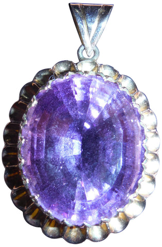 14K White Gold and Amethyst Pendant
