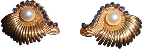 14K Yellow Gold, Pearl and Sapphire Earrings