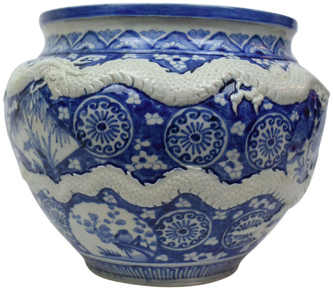 Blue and White Porcelain Bowl with Two Applied Dragons