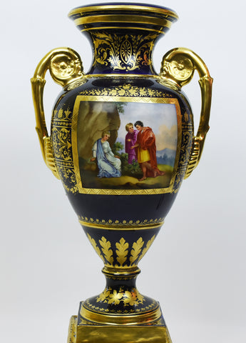 Royal Vienna Painted and Parcel Gilt Porcelain Urn, Austrian, marked with blue underglaze shield, ca. 1749-1827