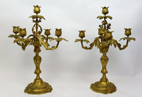 Pair of Continental Louis XV Style Gilt Five-Light Candelabra, probably late 19th century