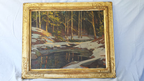 William Lester Stevens (American, 1888-1969), Woodland Stream in Winter, oil on canvas, signed