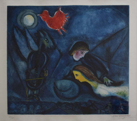 "After Marc Chagall (French/Belorussian, 1887-1985), ""Amoureux Volant et Coq Rouge"" (for Aleko), etching and aquatint printed in colors"
