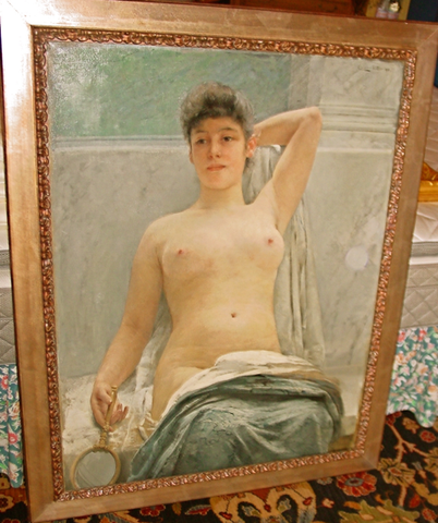 Caspar Ritter (German/Swiss, 1861-1923), Draped Nude with Looking Glass, oil on canvas, signed and dated 1892