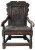 English Carved Oak Wainscot Armchair