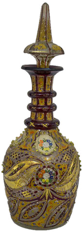 Polychrome Enameled and Gilded Glass Large Decanter
