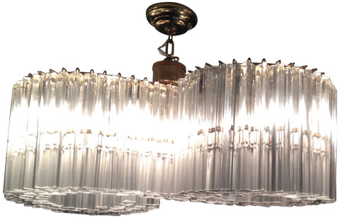 Italian Glass Faceted Prism & Metal Figure-Eight Chandelier
