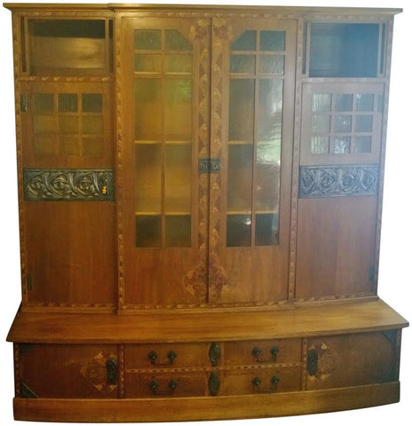Austrian Secessionist Inlaid Wood Breakfront Cabinet
