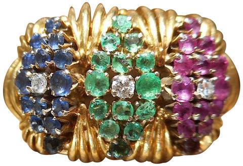 18K Yellow Gold, Emerald, Sapphire, Ruby and Diamond Ring