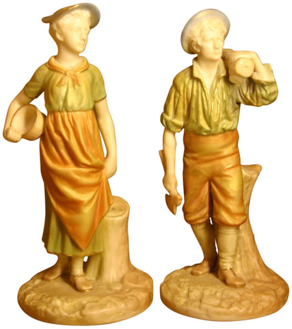 Pair of Royal Worcester Woodman and Milkmaid Figurines