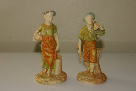 "Pair of Royal Worcester Porcelain Woodman and Milkmaid Figurines, ca.  1896, shape 1774, decorated in ""shot enamels"""