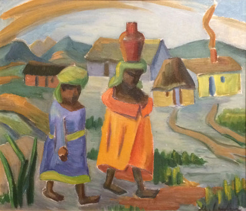 Maggie Maria Magdalena Laubser (South African, 1886-1973), Figures and Huts in a Landscape, oil on board, signed