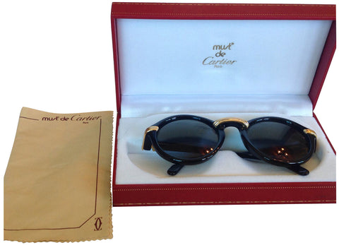"Must de Cartier ""Cabriolet"" Black and Gold Tone Sunglasses"