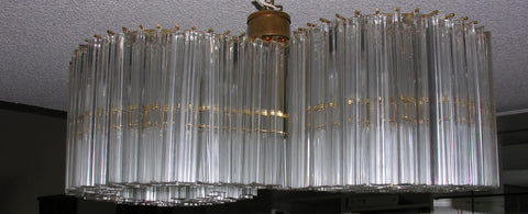Italian Venini Style Faceted Glass Prism and Metal Figure-Eight Chandelier, ca. 1970s