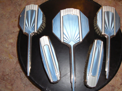 Art Deco Style Silver and Enamel Dressing Table Set, Albert Carter, Birmingham, 1934
