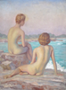 Attributed to Joseph Tomanek (American, 1889-1974), Two Nudes by Lake Michigan, oil on canvas