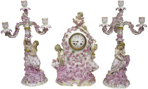 Porcelain Clock and Candelabra Garniture, Possibly Meissen
