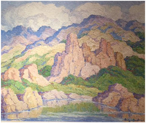 "Birger Sandzén (Swedish/American, 1871-1954), ""In the Mountains, Colorado..."", 1945, oil on masonite, signed"