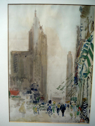 Chen Chi (Chinese/American, 1912-2005), View of New York, 1949, watercolor on paper, signed