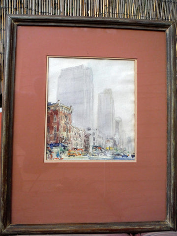 Chen Chi (Chinese/American, 1912-2005), View of New York, watercolor on paper, signed, mid 20th century