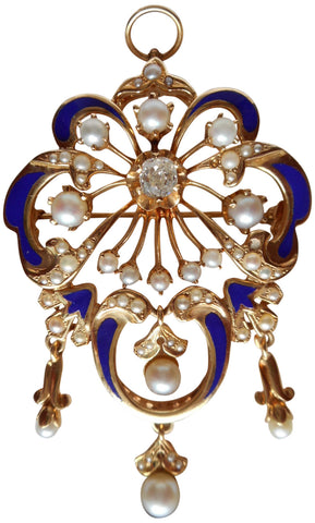 14K Yellow Gold, Enamel, Diamond and Pearl Pin Pendant