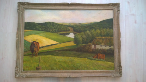 Continental School (20th Century) , Landscape, probably Danish, oil on canvas laid on board, signed