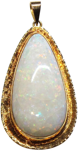 18K Yellow Gold and White Opal Pendant