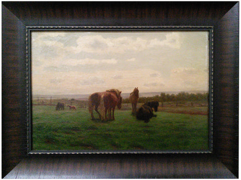Reiner Dahlen (German, 1836-1874), Horses at Rest, oil on canvas, signed and dated 1868