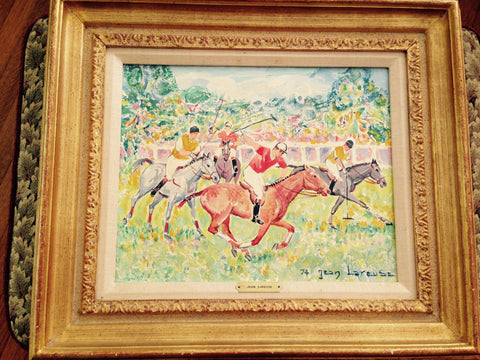 "Jean Lareuse (French, b. 1925), ""Four Polo Players"", 1974, oil on canvas, signed, dated"