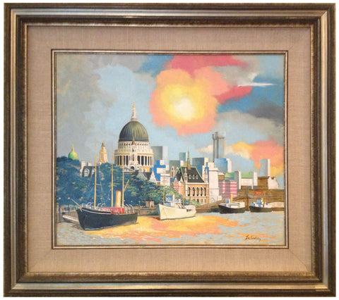 "Frank N. Ashley (American, 1920-2007), ""View Down the Thames"", oil on canvas, signed"