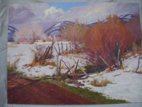"Walt Gonske (American, b. 1942), ""Taos Winter"", oil on canvas, signed, 20th century"