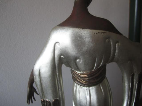 "Art Deco Style Polychrome Bronze Figural Sculpture, After ""Negligee"" by Erté (Romain de Tirtoff) (1892-1990), 1984. ed.300"