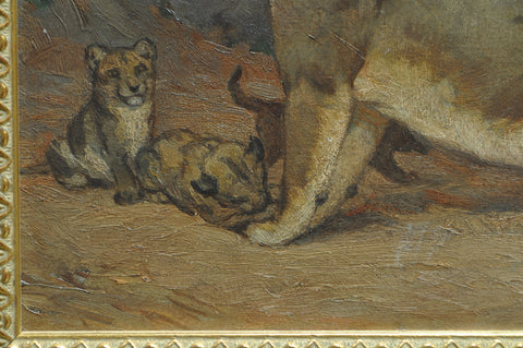 Louis J. Feuchter (American, 1885-1957) , Lioness with Cubs, 1923, oil on board, signed and dated