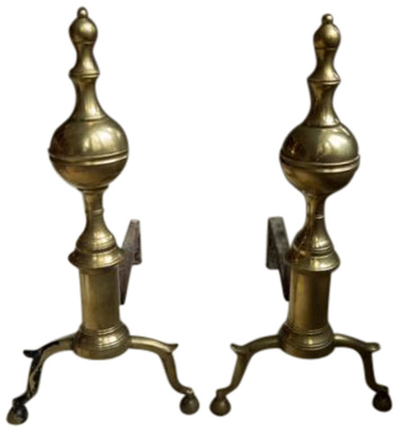 Pair of Federal Brass Ball and Urn Top Andirons