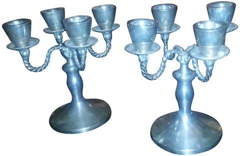 Pair of Mexican Silver Four-Light Candelabra
