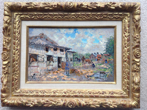 André Hambourg (French, 1909-1999),  Les Boxes à la Grande Cour, oil on canvas, signed, 20th century