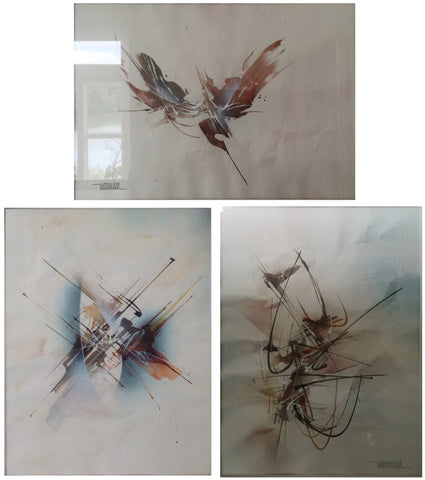 "Leonardo Nierman (Mexican, b. 1928), ""Forms in Space"", ""Flight in the Mist"", and Untitled, three watercolors, signed"