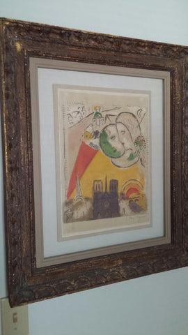"Marc Chagall (Russian/French, 1887-1985), Le Dimanche, from ""Derriere le Miroir"" nos. 66-67-68, 1954, lithograph in colors, signed, ed. 75"